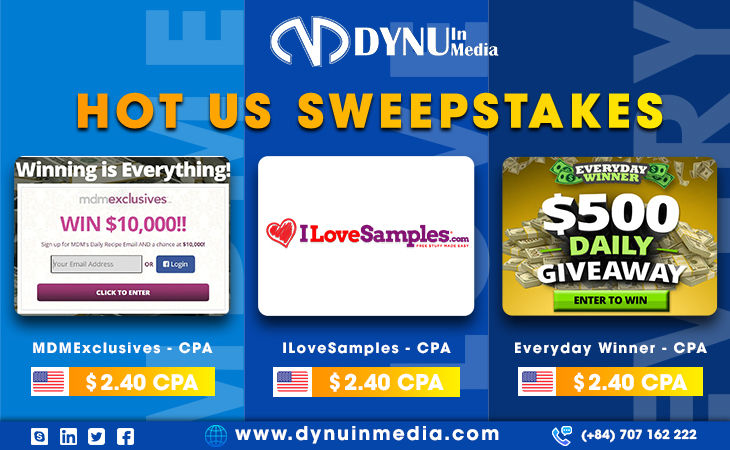 SWEEPSTAKES OFFERS- TOP VERTICALS IN AFFILIATE MARKETING   DYNU IN MEDIA